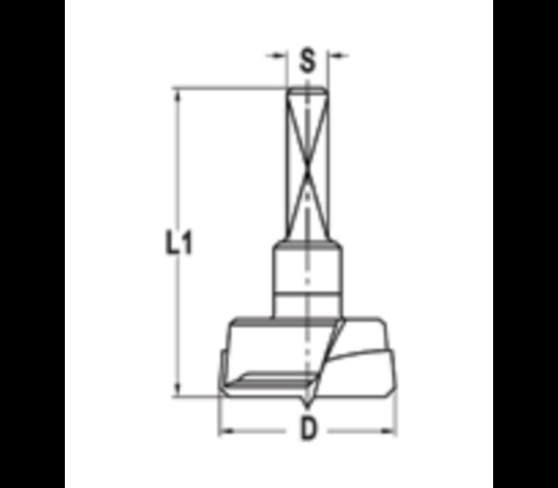 CylinderkopboorHW Z=2 Met centreerpunt en wisselschacht uitvoering