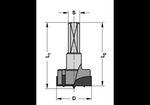 Trasco Cylinderkopboren met spanvlakHWZ=2/V=2 Schacht 10 mm, met centreerpunt
