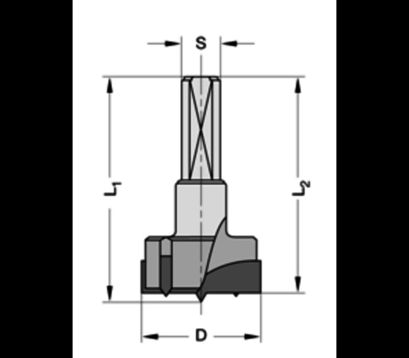 Cylinderkopboren met spanvlakHWZ=2/V=2 Schacht 10 mm, met centreerpunt
