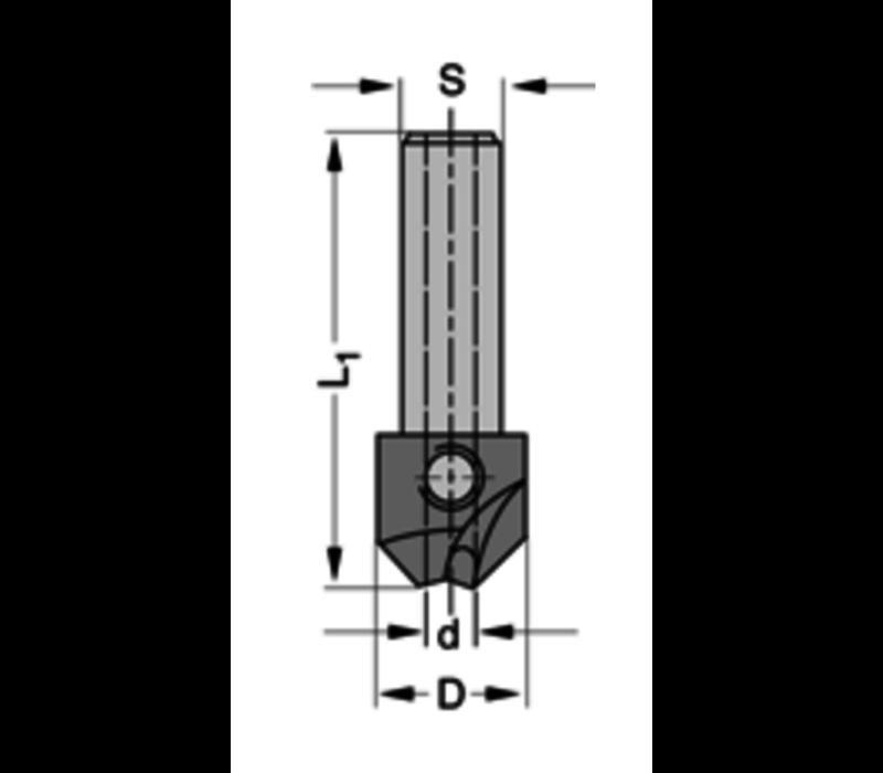 Verzinker 90°HSZ=2 Te gebruiken met cylindrische boren