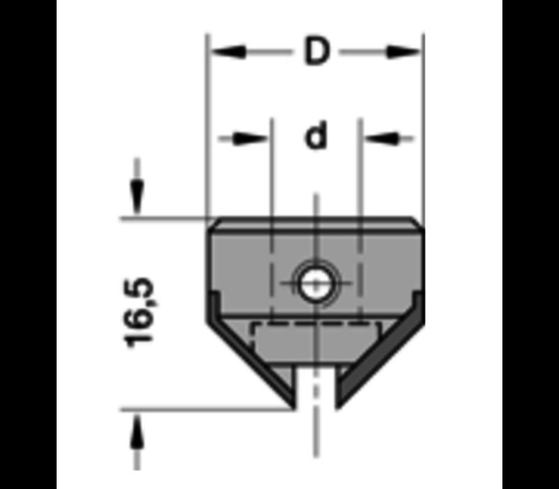 Opsteekverzinker 90°HWZ=2 Deze verzinkers worden op de schacht van de boor gemonteerd (zie drevelboren, type 30540)