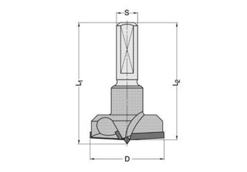 Trasco Diamant Cylinderkopboren met spanvlak DP Z=2/V=2 Schacht 10 mm, met HW-centreerpunt