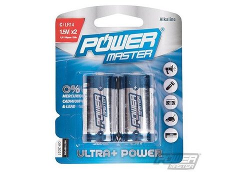 PowerMaster Type C super alkaline batterij LR14, 2 pk.