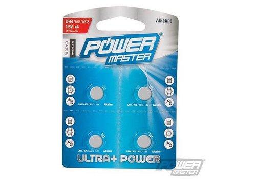 PowerMaster Alkaline knoopcel batterij LR44, 4 pk.