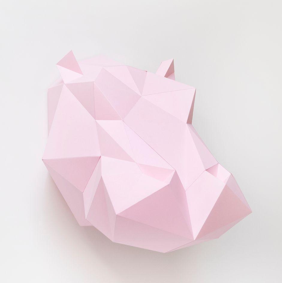 Wall hanging - hippopotamus DIY paper kit - white - Assembli