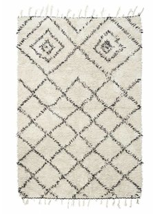 House Doctor Scandinavian-Ethnic rug 'Kuba' - Ivory & black - 140x200 - House Doctor