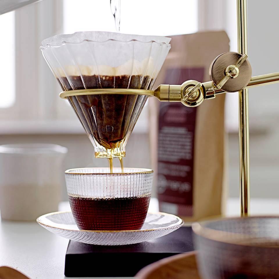 Bloomingville Drip Support filtre à café - Or et Verre - Bloomingville
