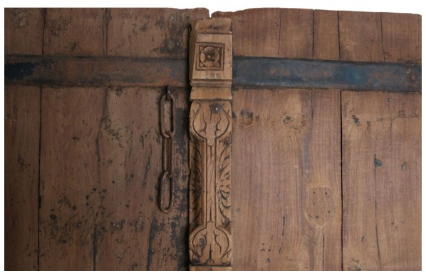 Teak carved set of doors - 92x8x164cm