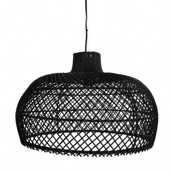 Oneworld Interiors Rattan pendant lamp - black - Ø56cm