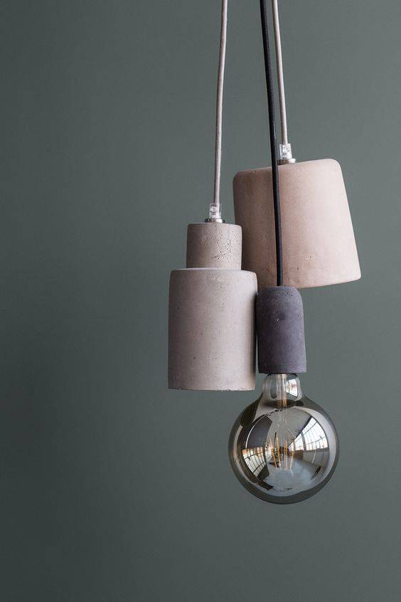 Broste Copenhagen Lámpara Suspensión 'Gerd' - Cable / Zócalo de hormigón - gris oscuro - Broste Copenhagen