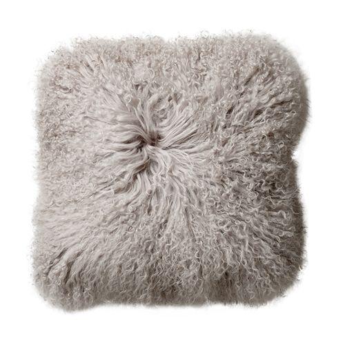 Bloomingville Cushion Tibetanian Lambskin - grey - Bloomingville