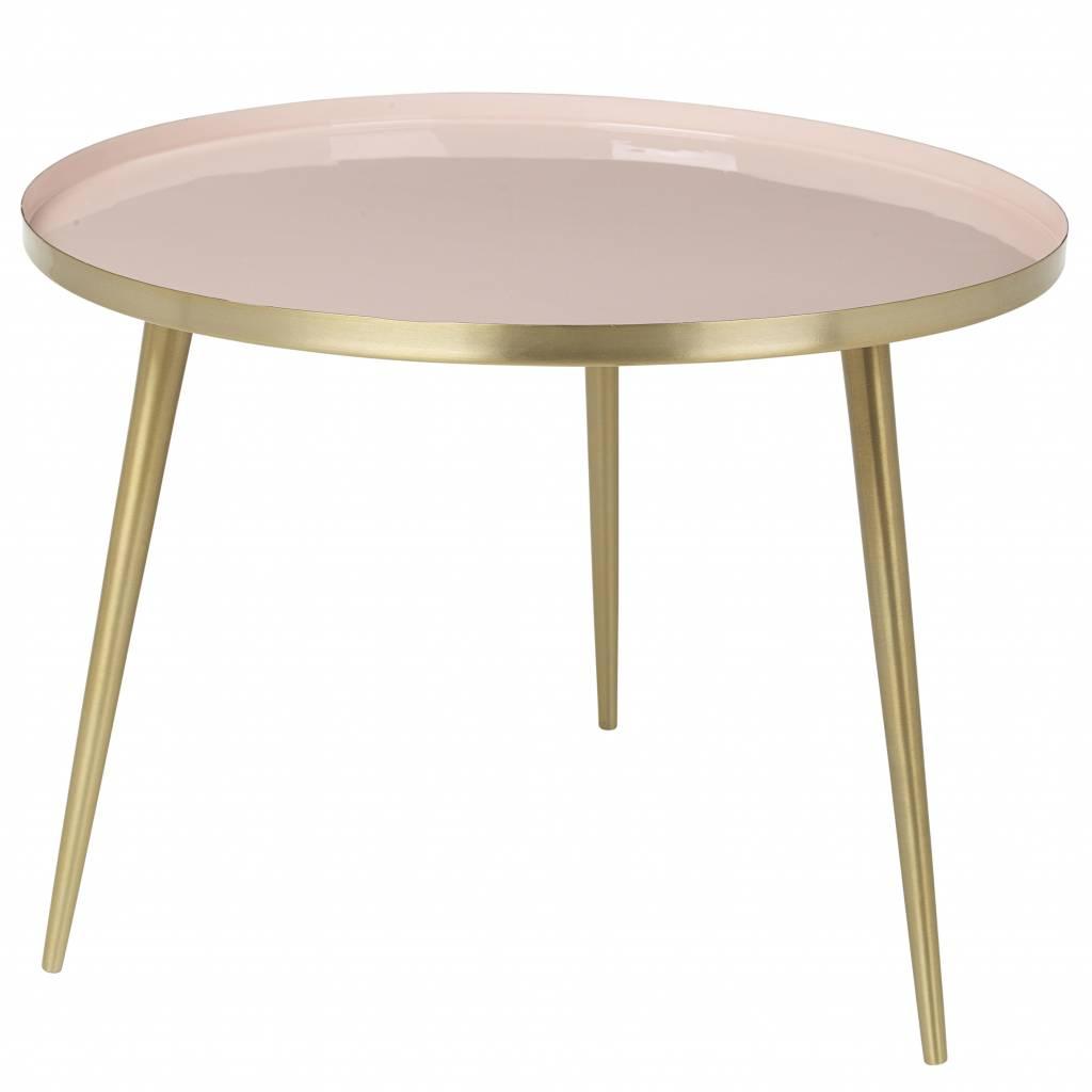Broste Copenhagen Table à café Scandinave ronde - Laiton et rose - Ø57Xh42cm - Broste Copenhagen