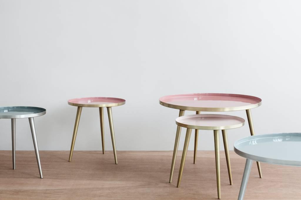 Broste Copenhagen Mesa redonda de café escandinava - Latón y rosa - Ø57Xh42cm - Broste Copenhagen