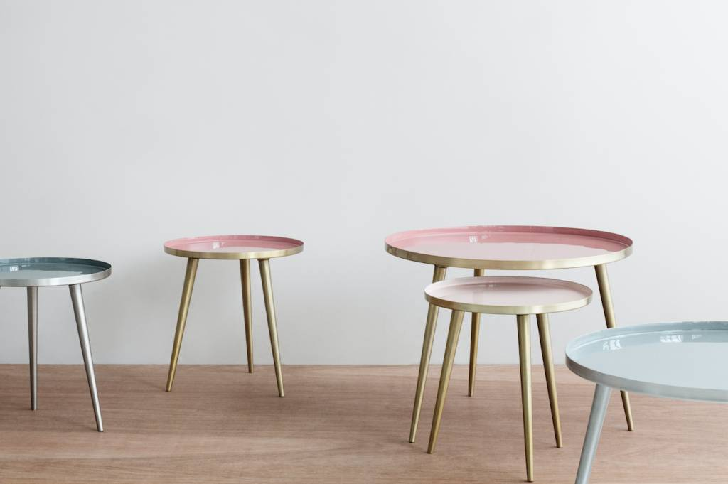 Broste Copenhagen Scandinavian coffee table round - Brass and Pink / Nude - Ø57Xh42cm - Broste Copenhagen