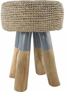 Wooden stool round in wood with weaved seating - natural and grey