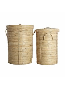 House Doctor Set of 2 laundry baskets 'chaka' in bamboo and rattan - House doctor