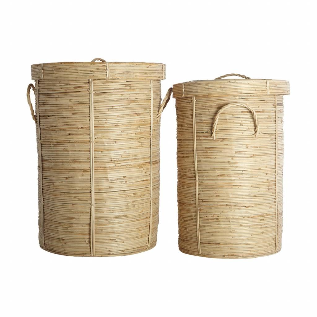 House Doctor Juego de 2 cestas de la ropa 'chaka' de bambú y ratán - House Doctor