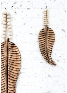 MaduMadu Colgadura de madera teca - Pluma Mini - 30x12cm - MaduMadu