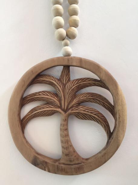 MaduMadu Colgadura de madera teca - Palmera mini - Ø21cm - MaduMadu