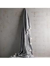 TineKHome Couverture / Plaid Marocain en coton avec pompons - gris - 195x300cm