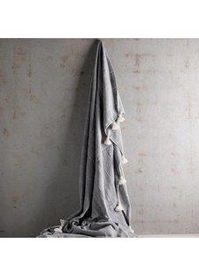 TineKHome Couverture / Plaid Marocain en coton avec pompons XL - gris - 195x300cm - TinekHome