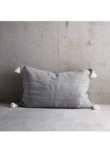 TineKHome Housse de coussin en coton avec pompons - gris - 50x75cm - TinekHome