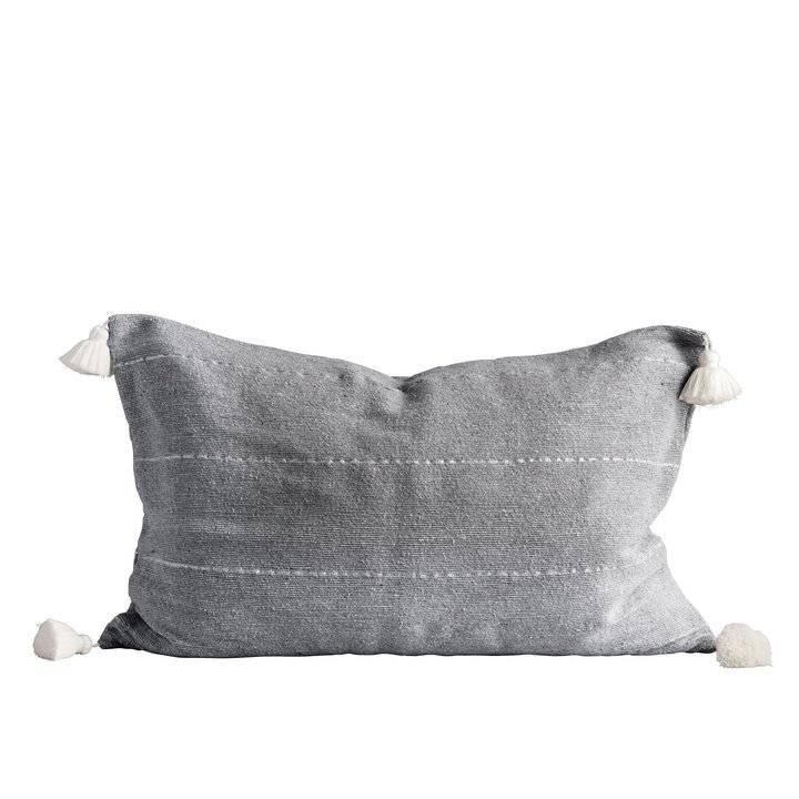 TineKHome Cushion cover Moroccan with tassels - grey - 50x75cm - TinekHome