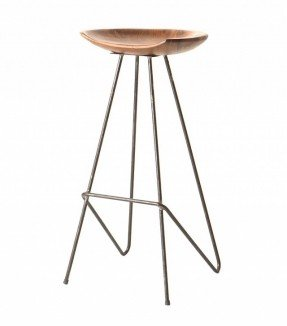Oneworld Interiors Loft bar stool - teak and Iron - Onewold Interiors