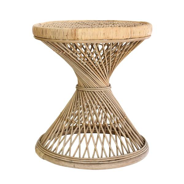 Rattan peacock side table - 55xh61cm - HK Living
