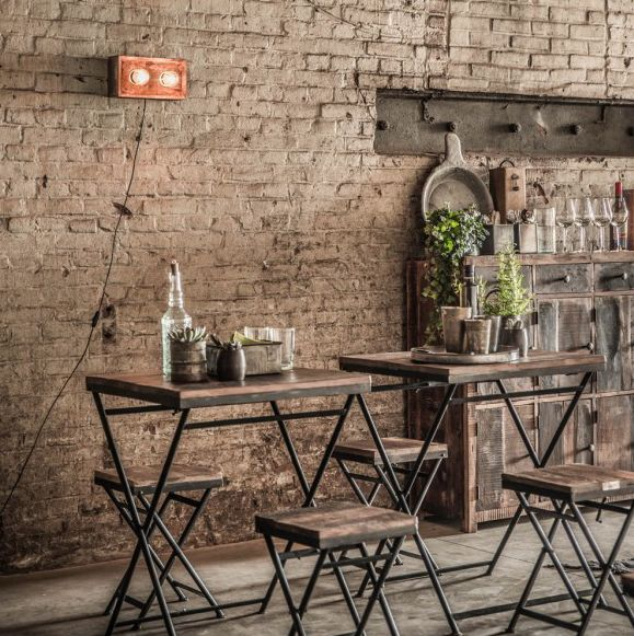 Oneworld Interiors Factory folding bistro table - metal and old wood - 60x60xh75cm - OneWorld Interiors