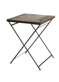 Oneworld Interiors Factory folding bistro table - metal and old wood - 60x60xh75cm