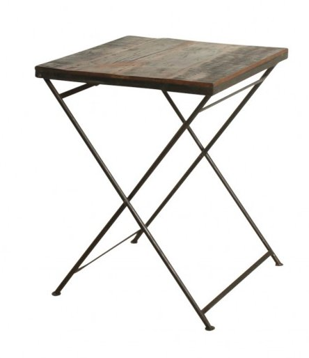Oneworld Interiors Table de bistrot pliante - métal et bois recyclés - 60x60xh75cm - OneWorld Interiors