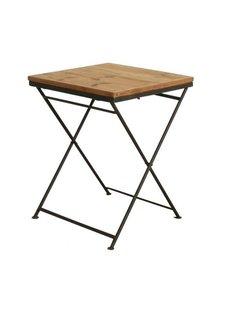 Oneworld Interiors Table de bistrot pliante - métal et bois de pin - 60x60xh75cm - OneWorld Interiors