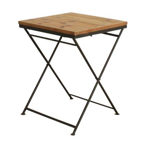 Pin 60x60xh75cm Oneworld De Et Table Pliante Bistrot Métal Bois Interiors R4jL5A