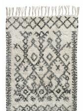 Nordal Ethnic rug 'Harlekin' - white and black - 100% stonewashed cotton - 75x150cm - Nordal