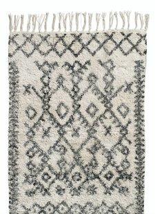 Nordal Tapis Ethnique 'Harlekin' - blanc et noir - 100% coton - 75x150cm - Nordal