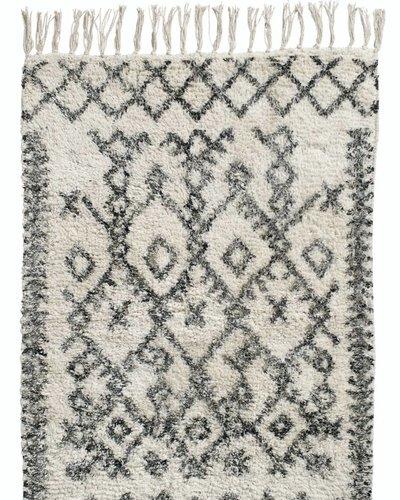 Tapis Ethnique Harlekin Blanc Et Noir 100 Coton 75x150cm