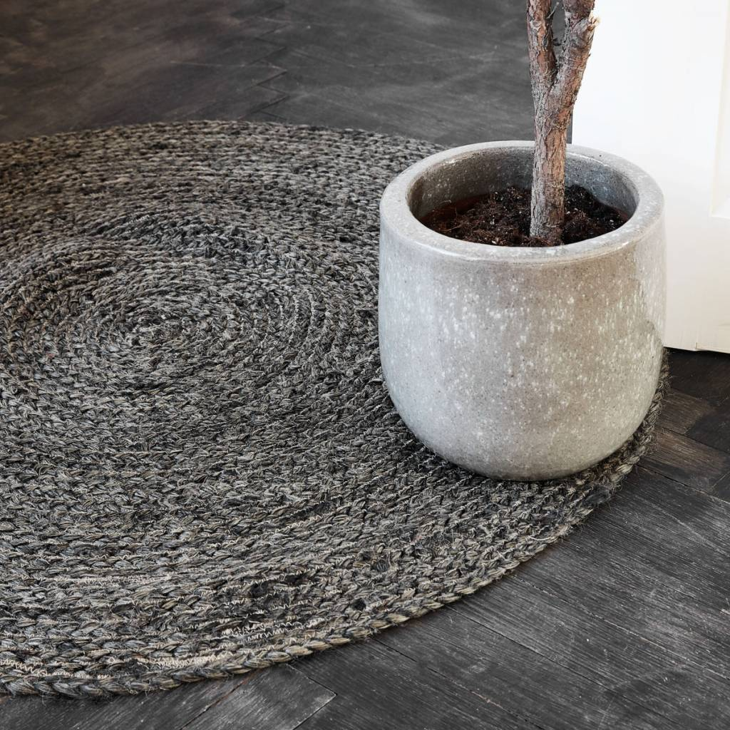 House Doctor Round rug hemp - black / bleached - Ø100cm - House Doctor