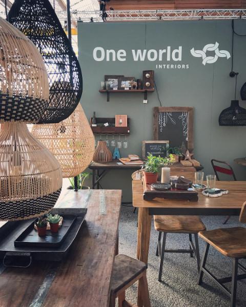 Oneworld Interiors Suspension en rotin - naturel - Ø45xh65cm