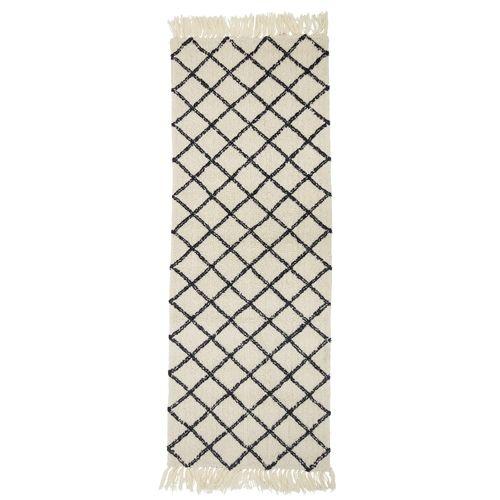 Bloomingville Tapis Style Berbère - creme / noir - 70x200cm - Bloomingville