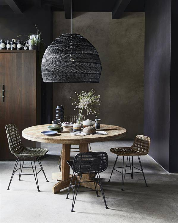 HK Living Wicker pendant lamp - Ø60cm - black - HK Living