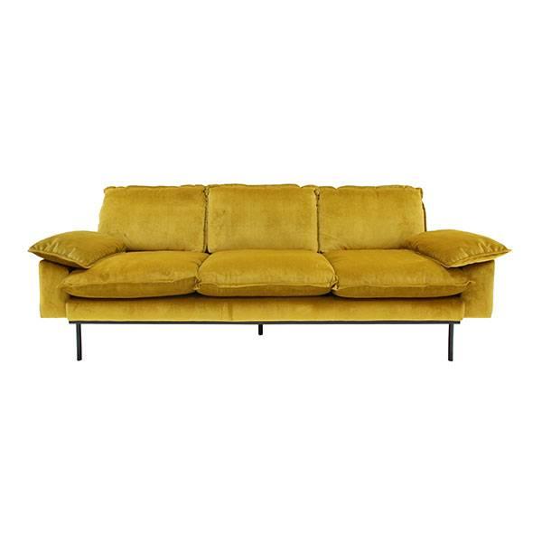 HK Living Retro sofa velvet - 3 seater - ochre - 225x83x75cm - HK Living