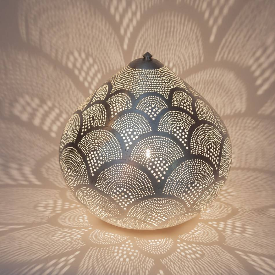 Zenza Egyptian Table Lamp Princess Fan Small Silver - Ø 29x23 cm - Zenza