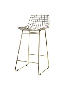 HK Living Tabouret de bar WIRE en laiton - HK Living
