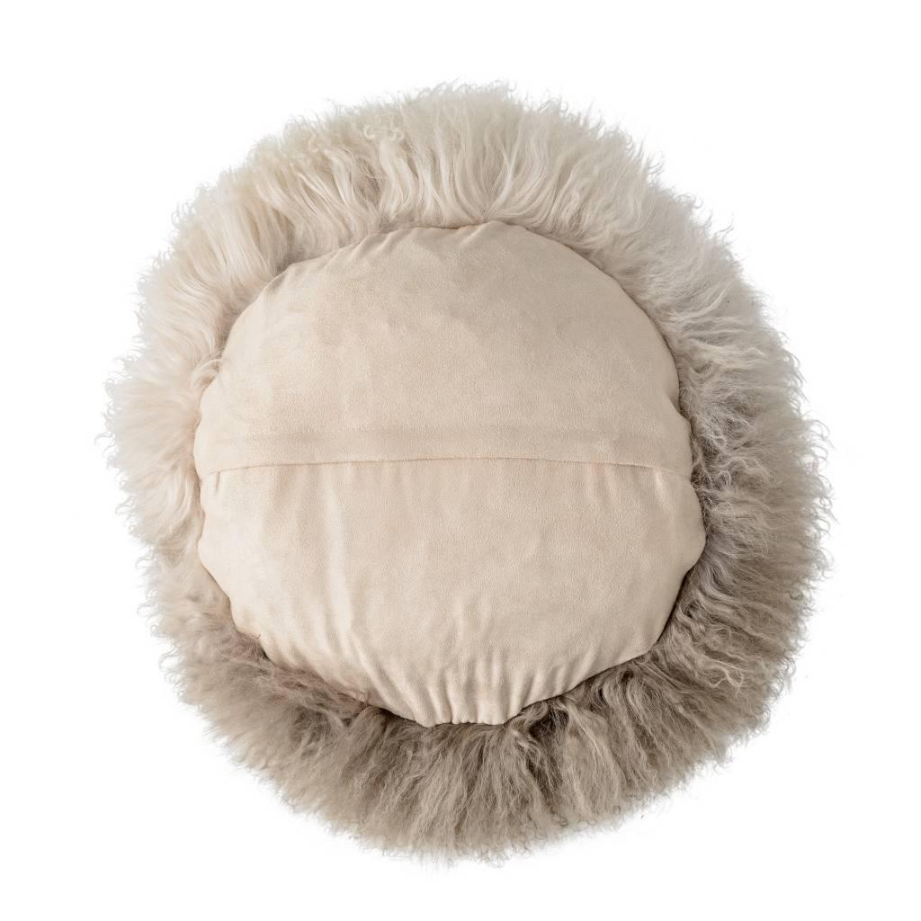 Bloomingville Cushion Tibetanian Lambskin - Ø35cm - nature -   Bloomingville