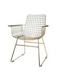 HK Living Set de 2 Fauteuils WIRE métal à accoudoirs - laiton - HK Living