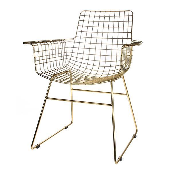 HK Living Set de 2 Fauteuils Chaises WIRE métal à accoudoirs laiton HK Living