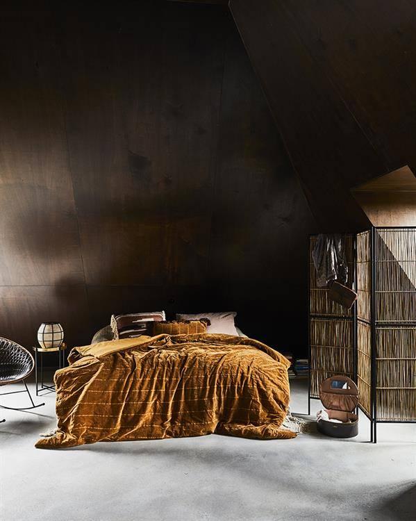 HK Living Velvet bedspread Shabby - ocher -250x260cm - HK Living