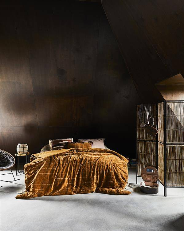 HK Living cushion shabby velvet - ocher- 35x70cm - HK Living