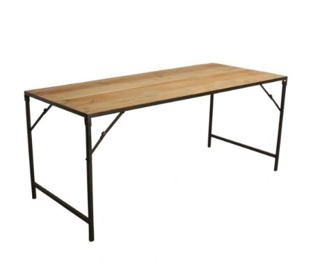 Table One Industrielle Bois Metal En Interiors Oneworld 180x75xh76cm World Pliante 354ARLqj